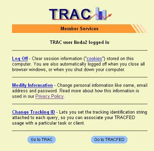 TRACFED Member Services page